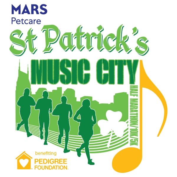 Mars Petcare St. Patrick's Music City Half Marathon, 10k, 5k, and 1mi Logo